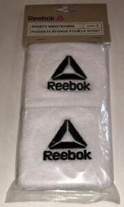 Reebok Sport Wristbands 1 Pair OSFM White w/ Black Logo Embroidered Sweat Run