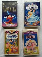 Fantasia Cinderella Snow White Dumbo Animated Movies Walt Disney Lot VHS Tapes