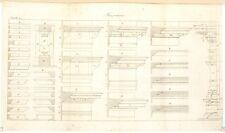 Stampa antica COSTRUZIONI MURATURA cornici Maconnerie 10 1814 Old antique print