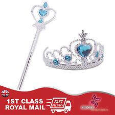 New Frozen Princess Queen Elsa Anna Wand & Tiara Crown Girl Costume 2 Piece Set