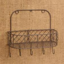 New Country Primitive Rustic Chicken Wire Spice Rack Wall Basket Key Hooks