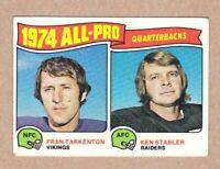 1975 Topps #208 Fran Tarkenton/Ken Stabler All Pro Quarterbacks Excellent+ cond.