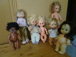lot de 7 poupées anciennes, Mariquita Pérez, Ari, Famosa, Hong-Kong