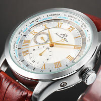 KS Day 24 Hours Display Automatic Mechanical Men's Leather Sport Wrist Watch