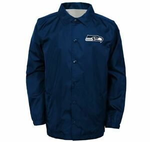 """Outerstuff NFL Seattle Seahawks Youth Boys """"Bravo"""" Coaches Jacket Boys Small"""