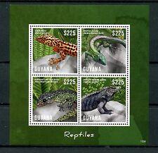 Guyana 2013 MNH Reptiles 4v M/S Lizards Saban Anole Gecko Iguana Whiptail Stamps