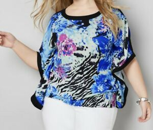 NEW Avenue Colorful Light Weight Breezy Open Poncho Blouse Top 30/32 5x