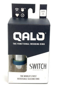 QALO Men's Switch Silicone Size 9 Functional Wedding Ring Green and Blue