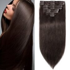 20Inch100g Clip in Remy Human Hair Extensions Full Head 8 Pieces Set Dark Brown