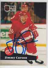 Autographed 91/92 Pro Set Jimmy Carson - Red Wings