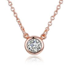 18K Rose Plated Bezel Necklace made with Swarovski Crystals