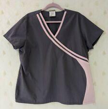 Urbane Scrubs Sz Xl / 1X Scrub Top Gray with Pink trim 2 side pockets