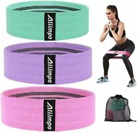 Allimpo Workout Fabric Resistance Bands Yoga Bands Non Slip Exercise Loops