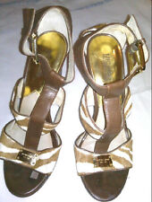 Women's Michael Kors Shoes Calf Hair Leopard Print Buckle Logo Size 8.5