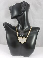14k Yellow Gold Necklace w/ Large 14k Gold Diamond Heart Pendant - 18 Inch