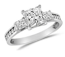 1.75 Engagement Ring Square Princess Cut 3 Stone Diamond Silver Platinum Finish