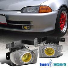 For 1992-1995 Honda Civic 4D Sedan Driving Fog Lights+Switch Kit Yellow