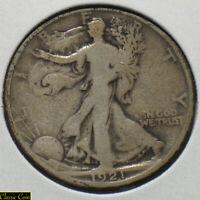 1921-D Silver Walking Liberty Half Dollar 50c Nice Solid VG 90% Silver Key Date