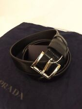 NWT PRADA TEXTURED LEATHER BLACK SMALL SILVER BUCKLE BELT 80-32 ITALY