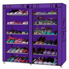 Portable Fabric Clothes Closet Cabinet Organizer Hanger Rack Home Purple