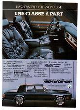 1984 CHRYSLER Fifth Avenue Vintage Original Print AD - Interior car photo small