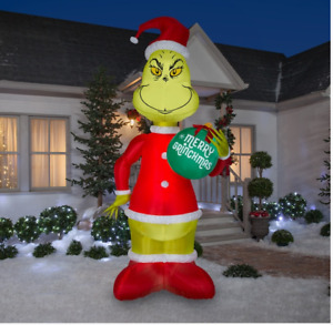 Gemmy 11' Christmas Airblown Inflatable Grinch Holding Grinchmas Ornament
