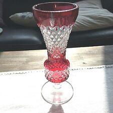 VAL ST LAMBERT - Vase rouge - signé VSL M