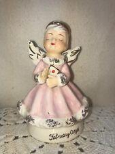 Vtg Rare 1950's Japan Spaghetti Trim February Valentine Birthday Angel Figurine