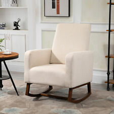Linen Look Rocking Chair Solid Wood Curved Legs Padded Living Room Seat White