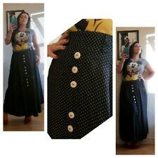 1980s 1990s retro vintage navy blue spotted polka dot midi skirt sz 14 16