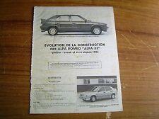 REVUE TECHNIQUE évolution de la construction ALFA ROMEO ALFA 33 depuis 1986