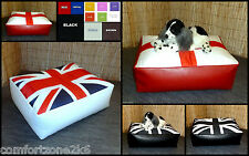 Zippy Faux Leather Union Jack Beanbag Footstool Bean Bag Cube Foot Stool Seat