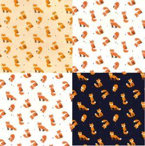100% Cotton Poplin Cheeky Fox Animal Print Dress Fabric Material 112cm wide