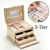 UK Large Jewellery Box Leather Finish Storage Drawer Cabinet Necklace Organizer