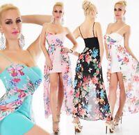 Italy Mujer Mini Vestido Chiffon Schleppe Flores Tirantes Fiesta Festivo Verano