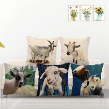 Meadow Mammal Sheep Goat SquareThrow Pillow Cover Farmhouse Linen Cushion Case