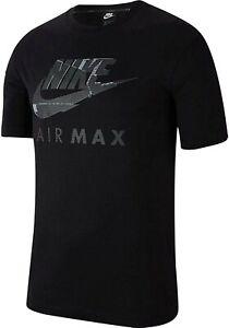 NIKE AIR MAX mens t shirt top tee S M L XL black white cotton GENUINE ITEM gym