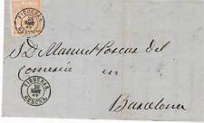 España. Isabel II. Carta circulada con sello de 50 m. y fechador Figueras