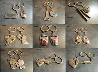New Cute Silver Tone Lovers Keychain Keyring Lover Key Chain Couple Love Gift