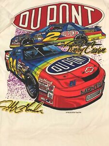Vtg NASCAR Jeff Gordon Ricky Craven T-Shirt 1995 Dupont Racing M FOTL USA single