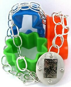 Modernist Design Sterling Silver 925 Rutilated Quartz & Cable Link Necklace