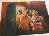 COCA COLA 1995 REPRO OF POSTER-TWO CHILDREN GETTING COKE FROM THE FRIDGE.