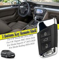 Car Key Remote Shell Flip Smart Case FOB 3 Button For VW Passat B8 Skoda Kodiaq