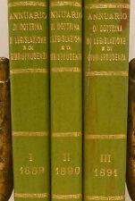 Diritto - VIDARI, Annuario Dottrina Legislazione e Giurisprudenza 1890 Vallardi