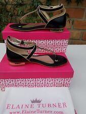 $228 Elaine Turner Women's Olivia Black Leather Sandal size 6