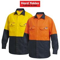 Mens Hard Yakka Fire Resistant ShieldTec Hi-Vis Safety Mining Work Shirt Y04450