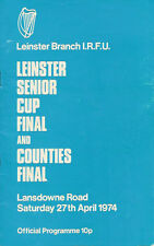 Bective Rangers v St Mary'S 1974 Leinster Cup Final Rugby Programme