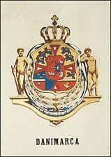DANIMARCA: Stemma Araldico-Pagnoni 1863.Origin.Lithografia.Colori.Passepartout.