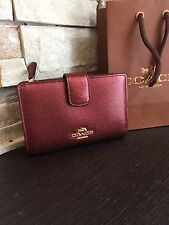 COACH  CROSSGRAIN LEATHER   WOMAN'S WALLET F54010 CHERRY MEDIUM CORNER ZIP