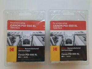 2 x Kodak Canon PGI-550 XL Twin Pack Black Remanufactured Ink Cartridges (4 Tot)
